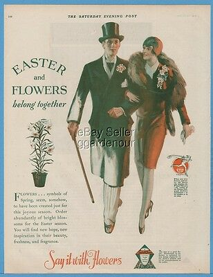 1929 Easter Lily Flowers FTD Society of American Florist 1920's Syle Fashion Ad