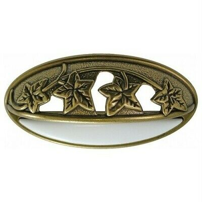 "Nature ""Vine Leaf"" Antique Brass White Ceramic Cabinet Drawer Cup Pull P3033-LPW"