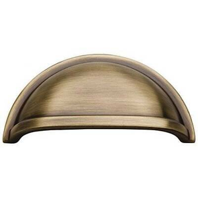 "Satin Dover Antique Brass Hickory K43-9013 SOLID BRASS Cup Drawer Pull, 3"" CC"