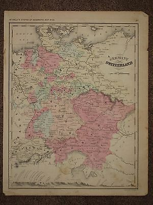 1866 GERMANY ANTIQUE MAP McNally Atlas CIVIL WAR Era ORIGINAL!
