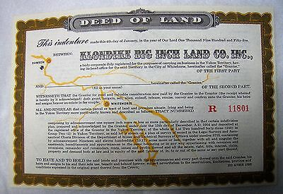 Sergeant Preston Land Deeds (100)  Mint direct from Quaker Oats Cereal 1956
