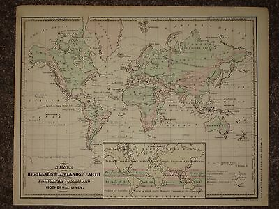 1866 WORLD MAP McNally Atlas WEATHER MOUNTAINS VOLCANOES ORIGINAL ANTIQUE
