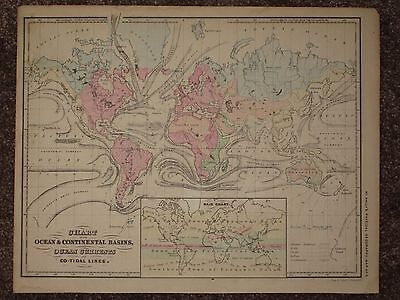 1866 WORLD MAP McNally Atlas OCEAN CURRENTS CONTINENTAL BASINS ORIGINAL ANTIQUE