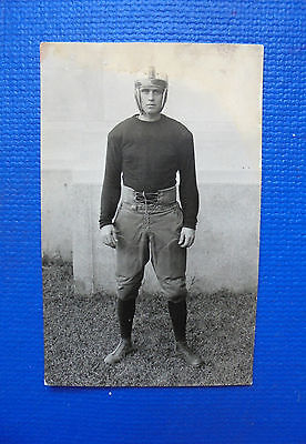 ANTIQUE VINTAGE OLD Real Photo postcard Football player in old gear