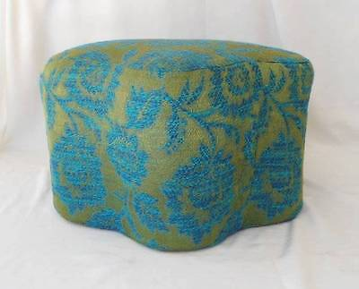 Vintage Satin Foot Stool Tapestry Embroidered Blue Hollywood Regency Cushion