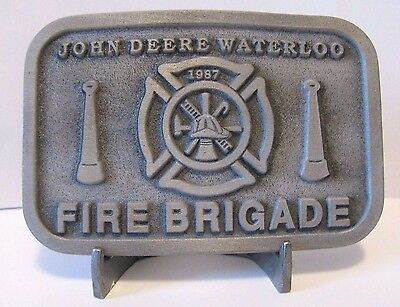 John Deere Employee Waterloo FIRE BRIGADE Pewter Belt Buckle 1987 Ltd Ed 1 of 50