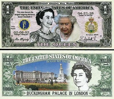 USA Commemorative QUEEN ELIZABETH II Million Dollar Note USA SELLER Sleeved