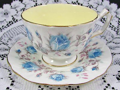 Aynsley Blue Roses Yellow Interior Tea Cup And Saucer