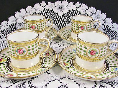 4 Crown Staffordshire Hp Rose Green Enamel Demi Cup And Saucer Sets