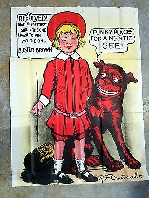Buster Brown Vintage Cloth Poster Tie Game Advertising Dog Tige Owtcault