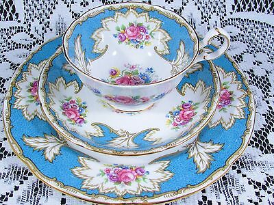 Royal Grafton Academy Turquoise Floral Trio Tea Cup And Saucer
