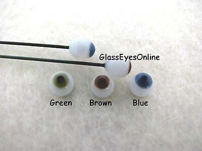 3 PAIR 2mm to 12mm Glass Doll EYES On Wire Choose Size  Doll, Fairy, Ooak  #123