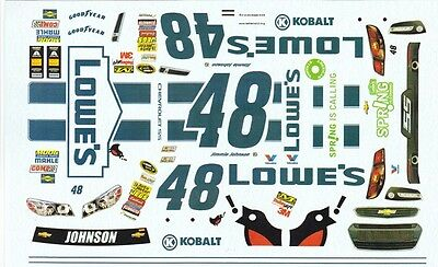 #48 Jimmy Johnson Lowes think Spring 2014 1/25th - 1/24th Scale Decals
