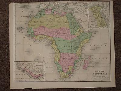 1867 AFRICA EGYPT LAKE VICTORIA ANTIQUE MAP Warren Atlas HAND COLORED ORIG!