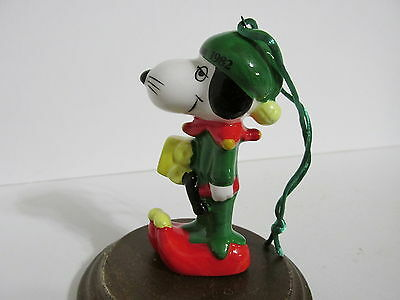 Snoopy Peanuts Determined Ceramic Christmas Ornament Spike Figure Figurine 1982