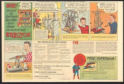 1948 - ERECTOR Set - Newspaper Comic ad - SUPERMAN at Gilbert Hall of Science
