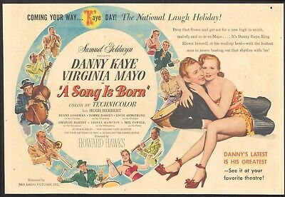 1948 - A SONG IS BORN - Newspaper Comic Movie ad - w/ DANNY KAYE & VIRGINIA MAYO