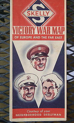 1943 WWII Victory War map Skelly  oil gas oil battle lists dates