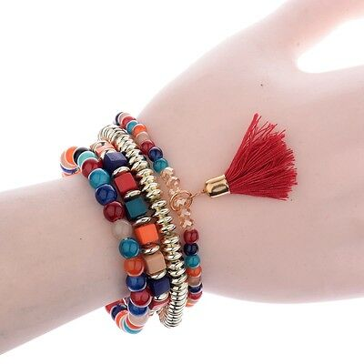 4Pcs/Set New Women Ethnic Boho Multilayer Tassel Beads Bracelet Bangle Jewelry