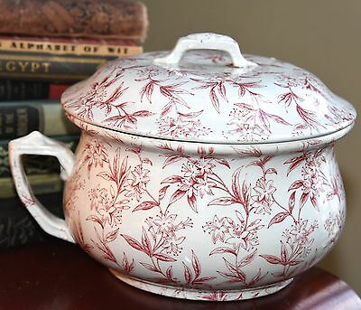 "Vintage Victorian Chamber Pot Red & White Floral Lid Handle Round Ceramic 10"" W"