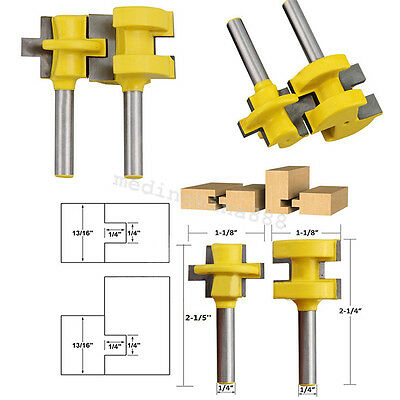 """2x Tongue & Groove Router Bit Set 1/4"""" Shank Woodworking Tool Chisel Cutte"""