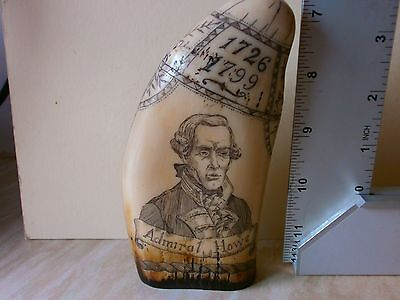 """FAUX SCRIMSHAW  TOOTH  """"The Brunswick""""  and Admiral """"Howe"""" 5 1/2 INCHES HIGH"""