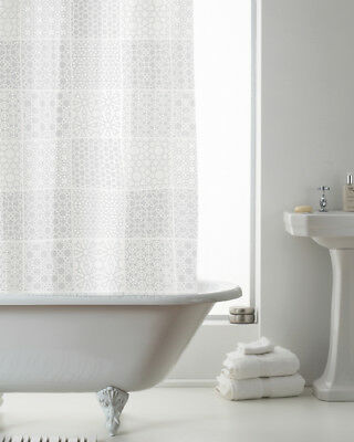 Country Club Shower Curtain 180x180 Tuile White Transparent Pattern Contemporary