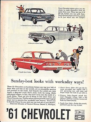 1961 Chevrolet Cars Corvair Biscayne Impala Ad Sunday Best Looks