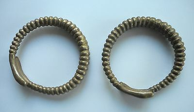 Old Pair Tribal Arm Bracelets Laos SE Asia Snake Heads