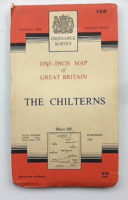 Vintage Ordnance Survey Sheet Cloth Map of The Chilterns No.159 dated 1964