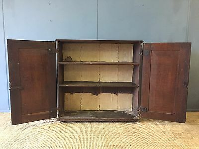 A Large Narrow Antique Georgian Oak Storage Cupboard Rustic Country Kitchen Unit