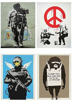 Banksy Graffiti Street Art Pack 8 Poster Collection / Set 8 Prints Hp4137
