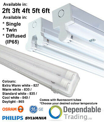 T8 HF Fluorescent Batten Fitting Single Twin, IP65 Non Corrosive 2ft 4ft 5ft 6ft