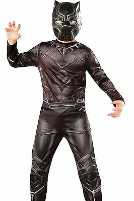 Black Panther Costume Childs Boys The Avengers Marvel - S 4-6 M 8-10 L 12-14