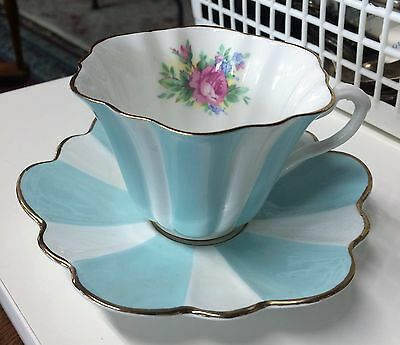 ROYAL STUART BONE CHINA SPENCER STEVENSON ENGLAND Stripped Aqua Roses
