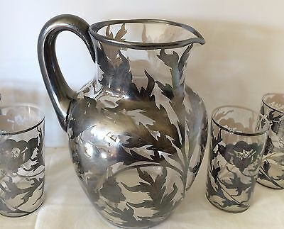 Antique ART NOUVEAU SILVER Sterling OVERLAY GLASS WATER PITCHER/4 TUMBLERS POPPY
