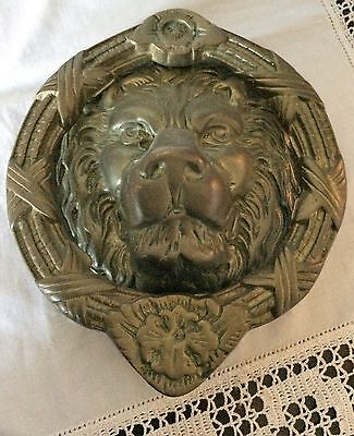 "Vintage 8"" Cast Brass Lion Head Door Knocker Architectural Urban Farmhouse"