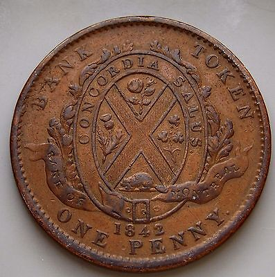 1842 PC-2B Province Of Canada Canadian 1  Penny Bank Of Montreal Token