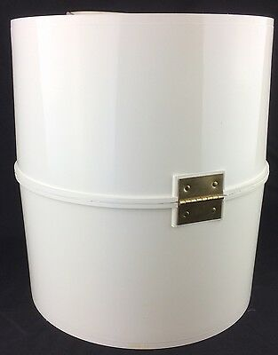 "Excellent Vintage White Plastic Hinged Extra Large Hat Box 14 x 12"" 1960s 1970s"