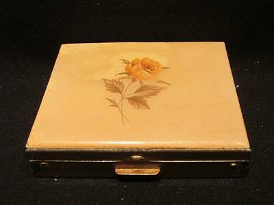 """Metal Compact with Rose Design on lid. Lid """"as is"""""""