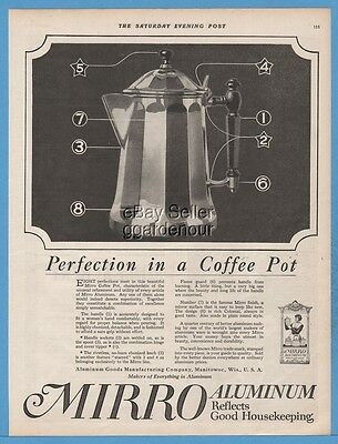 1918 Mirro Aluminum Coffee Pot Vintage Kitchen Decor Manitowoc Wisconsin WI Ad