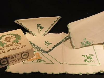 Irish Linen Group of items including Handkerchiefs Runners Embroidered Shamrocks