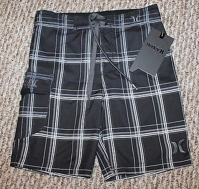 New! Boys Hurley Board Shorts (Swim Trunks; Plaid; Black) - Size S-5, M-6