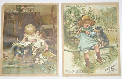 2 Lrg Antique 1880s Victorian Trade Cards~McLaughlin's Coffee: Girl&Doll Boy&Dog