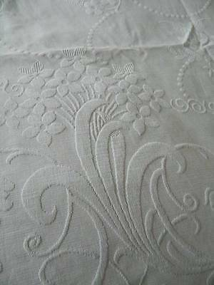 Antique large Edwardian white cotton Marcella bedspread - Spring Flowers