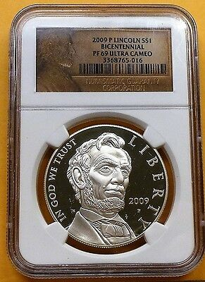 """2009-P Lincoln Bicentennial Silver Dollar S$1 """"Proof"""" NGC PF69 Ultra Cameo, Nice"""