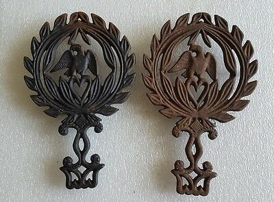 Pair Two (2) Vintage Eagle Perched On Heart Cast Iron Footed Trivets * Wilton