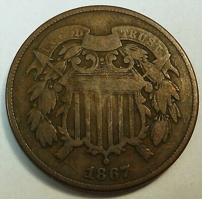 1867 United States Shield Two Cent Piece - VG Very Good Condition