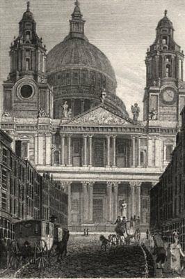 St Paul's Cathedral, London. Antique engraved print 1817 old