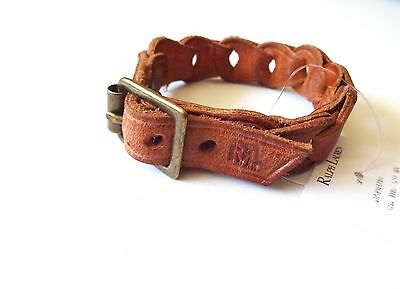 New Ralph Lauren RRL Tan Brown Braided Leather Cuff Bracelet Wristband